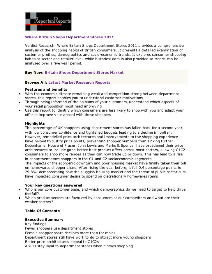 ReportsnReports – Where Britain Shops Department Stores 2011