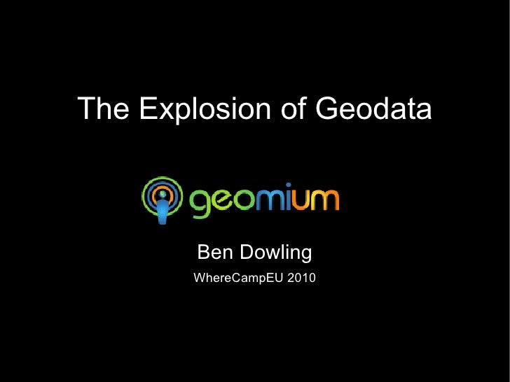 The Explosion of Geodata