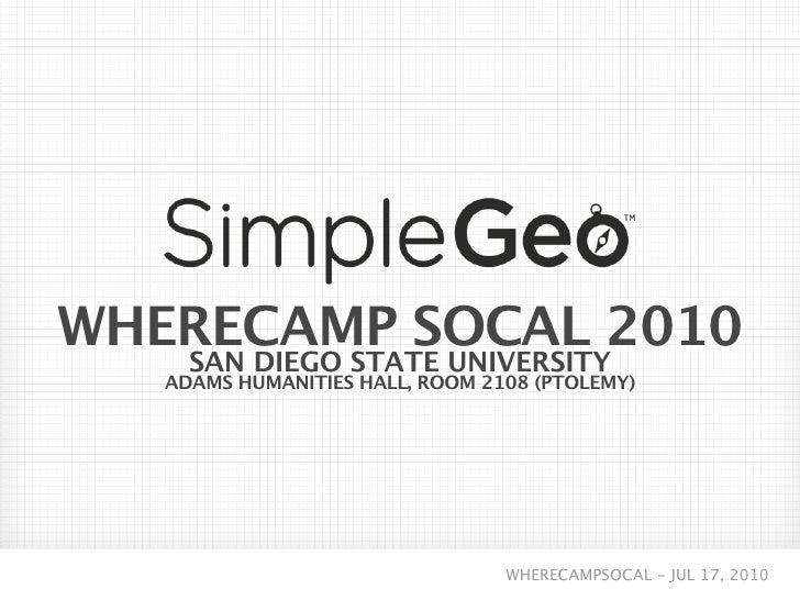 SimpleGeo at WhereCamp SoCal 2010