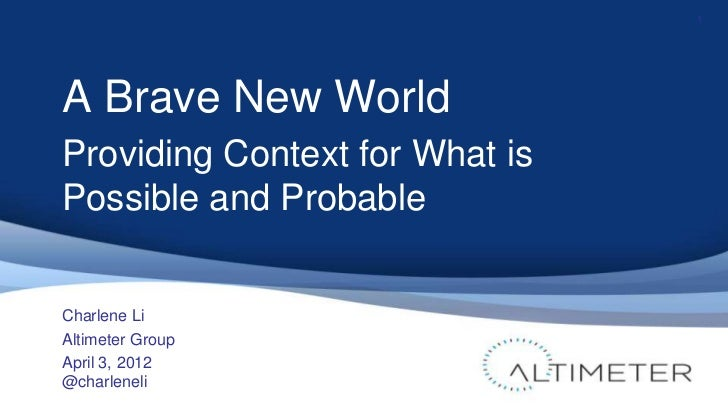 A Brave New World - Where Conference Keynote