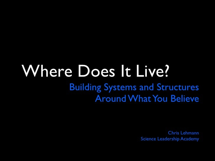 Where Does It Live - Building Systems and Structures for What You Believe