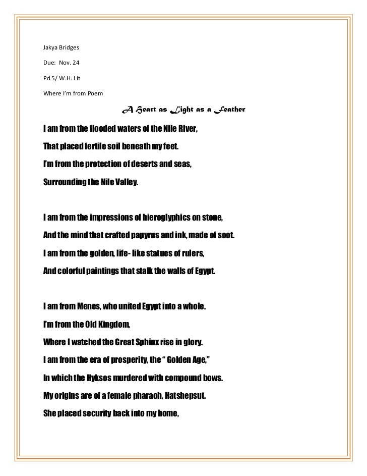 Jakya Bridges Due: Nov. 24 Pd 5/ W.H. Lit Where I'm from Poem A ...