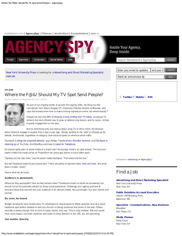 Where the f@&! should my tv spot send people    agency-spy