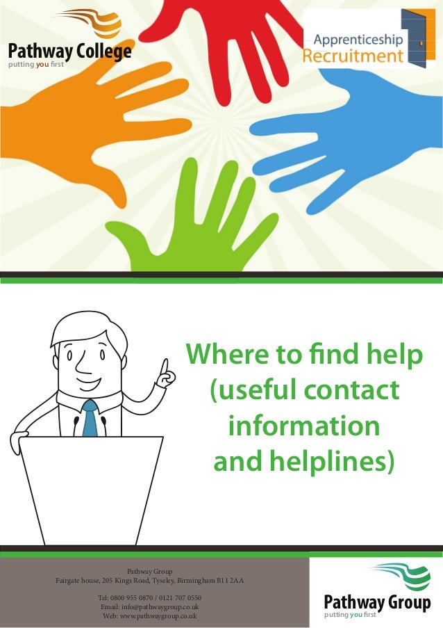 Pathway Groupputting you first Where to find help (useful contact information and helplines) Pathway Collegeputting you fir...