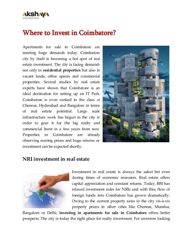 Where to Invest in Coimbatore? Apartments for sale in Coimbatore are meeting huge demands today. Coimbatore city by itself...