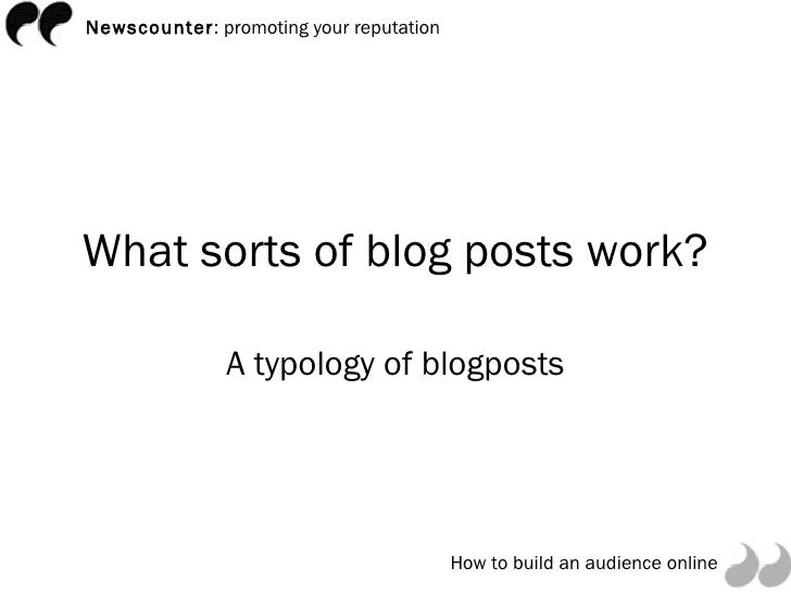 Great blogging: which posts work