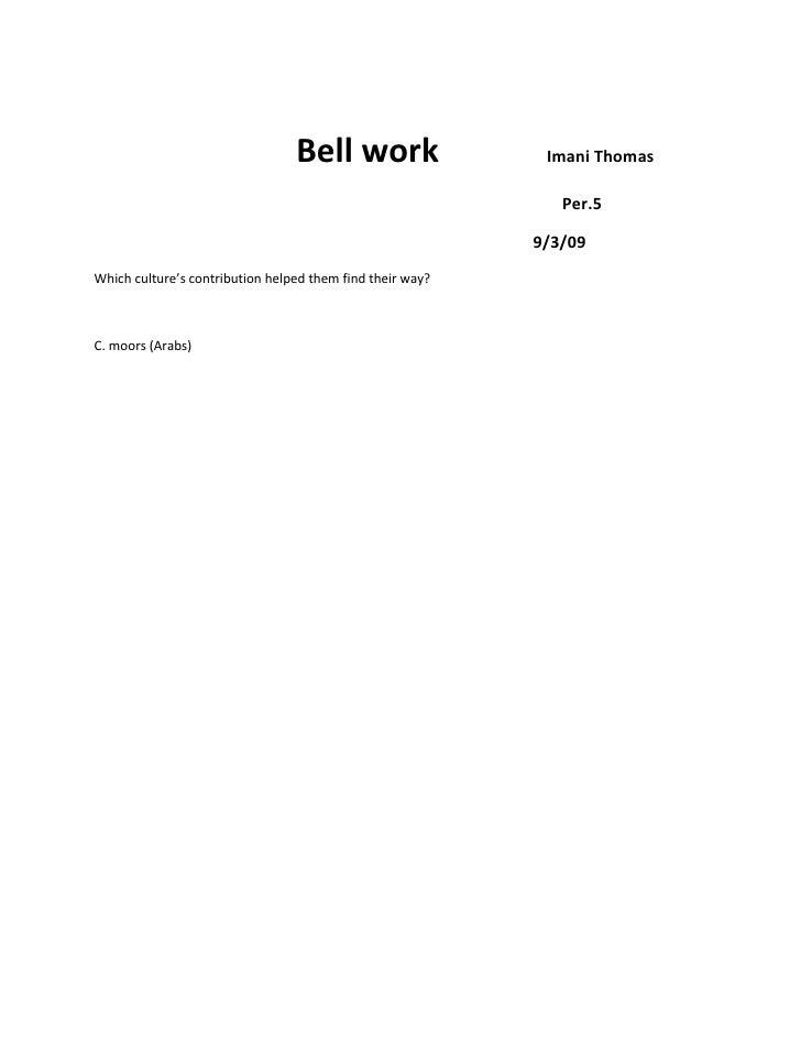 Bell work             Imani Thomas<br />                    ...