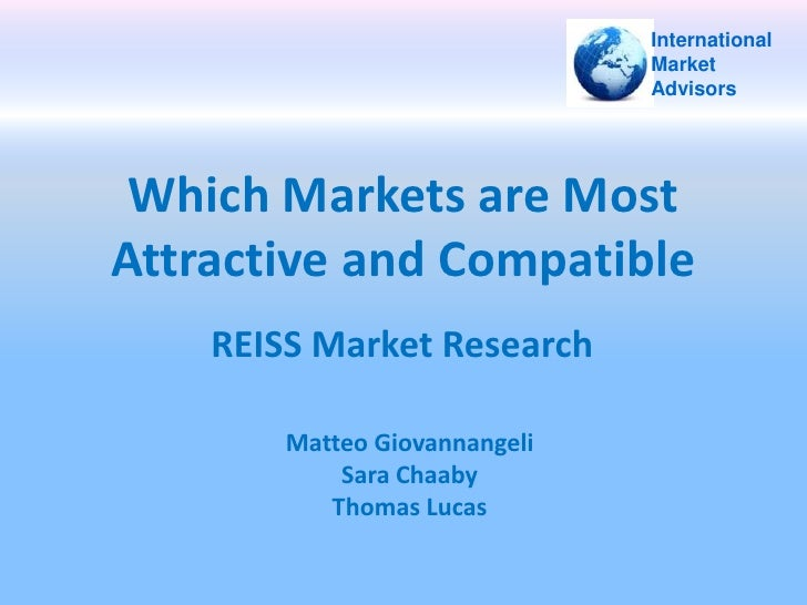 Which Markets are Most Attractive and Compatible<br />International<br />Market<br />Advisors<br />REISS Market Research<b...