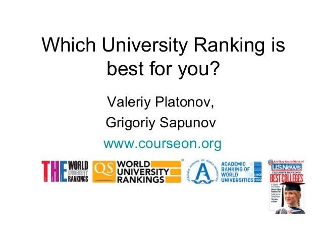 Which University Ranking is best for you? Valeriy Platonov, Grigoriy Sapunov www.courseon.org