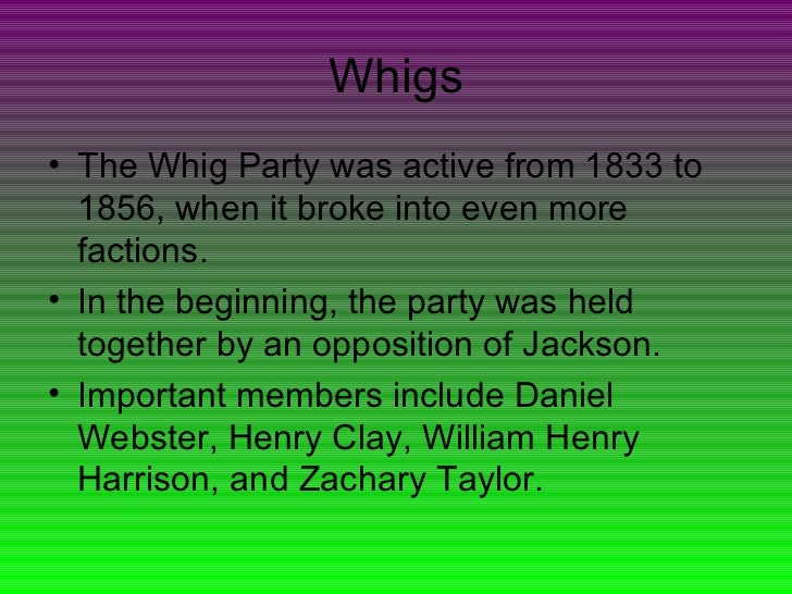 a history of the federalist party and the whigs The first political parties the united states in the twenty-first century is predominately a two-party system although more than two political parties exist, many american voters tend to side with one of the big two: the democrats or the republicans.