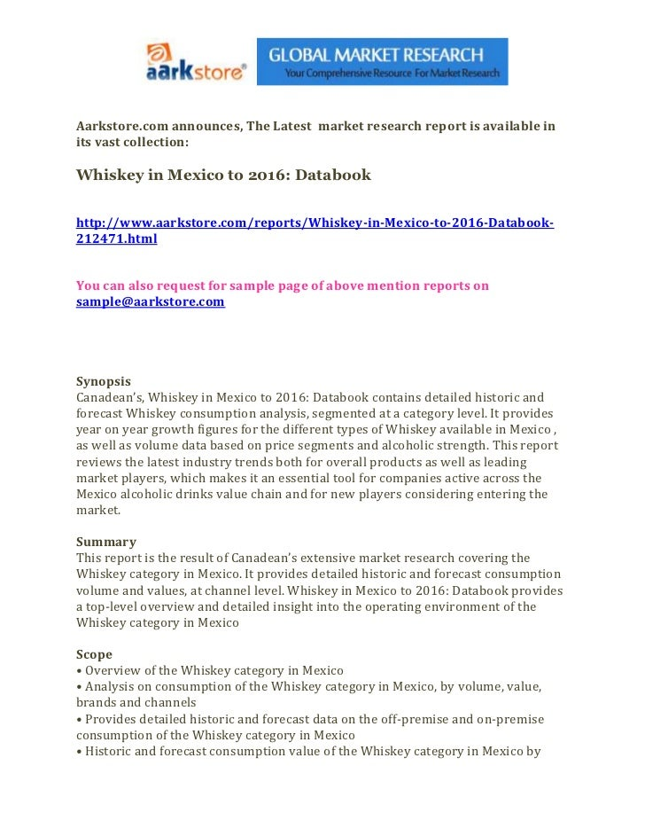 Whiskey in mexico to 2016 databook