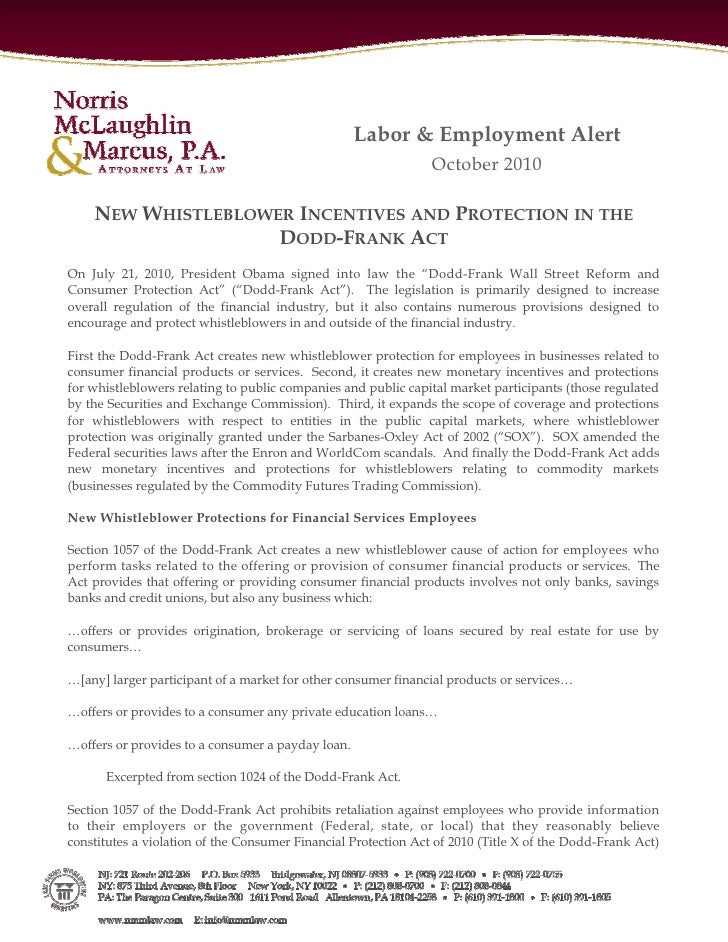 Labor & Employment Alert                                                               October 2010    NEW WHISTLEBLOWER I...