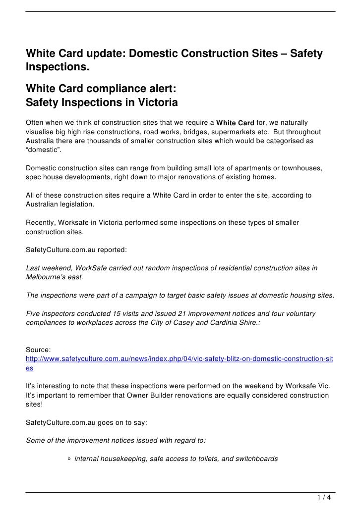 White Card update:  Domestic Construction Sites – Safety Inspections.