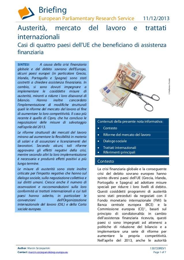 Briefing European Parliamentary Research Service  Austerità, mercato internazionali  del  lavoro  e  11/12/2013  trattati ...