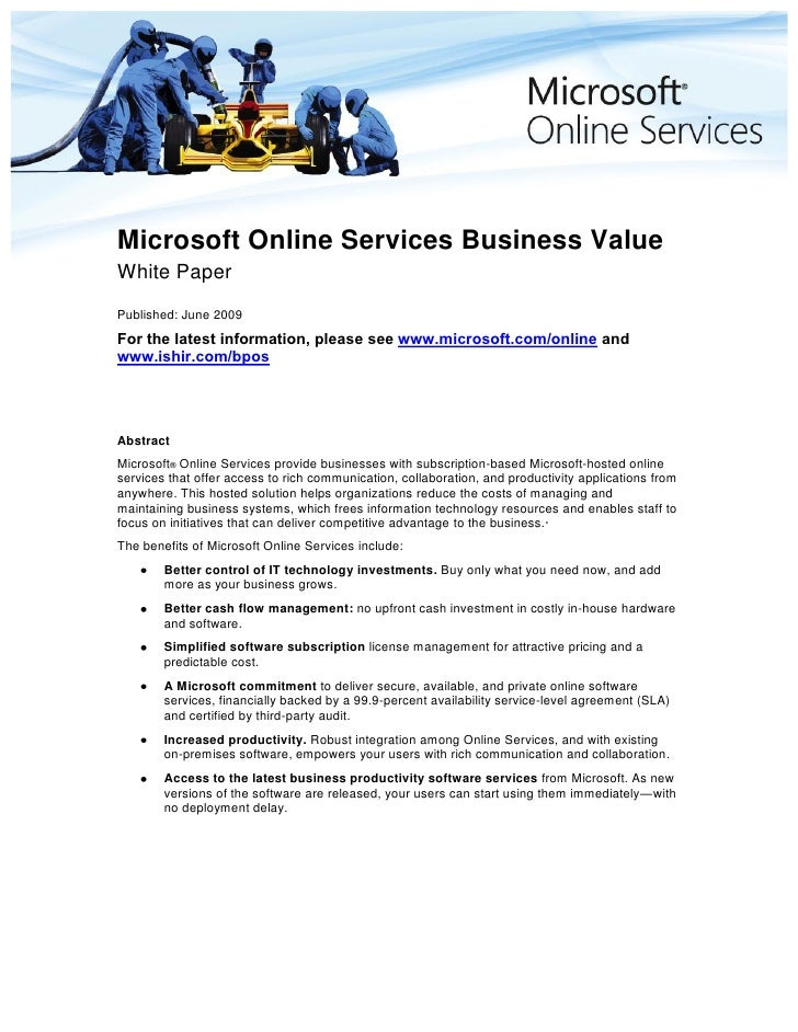 Microsoft Online Services Business Value White Paper Published: June 2009 For the latest information, please see www.micro...