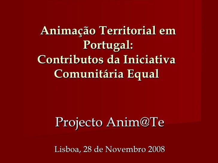 Animação Territorial em Portugal: Contributos da Iniciativa  Comunitária Equal  Projecto Anim@Te Lisboa, 28 de Novembro 2008
