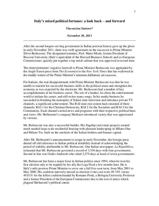 1Italy's mixed political fortunes: a look back – and forwardVincenzina Santoro*November 30, 2011__________________________...