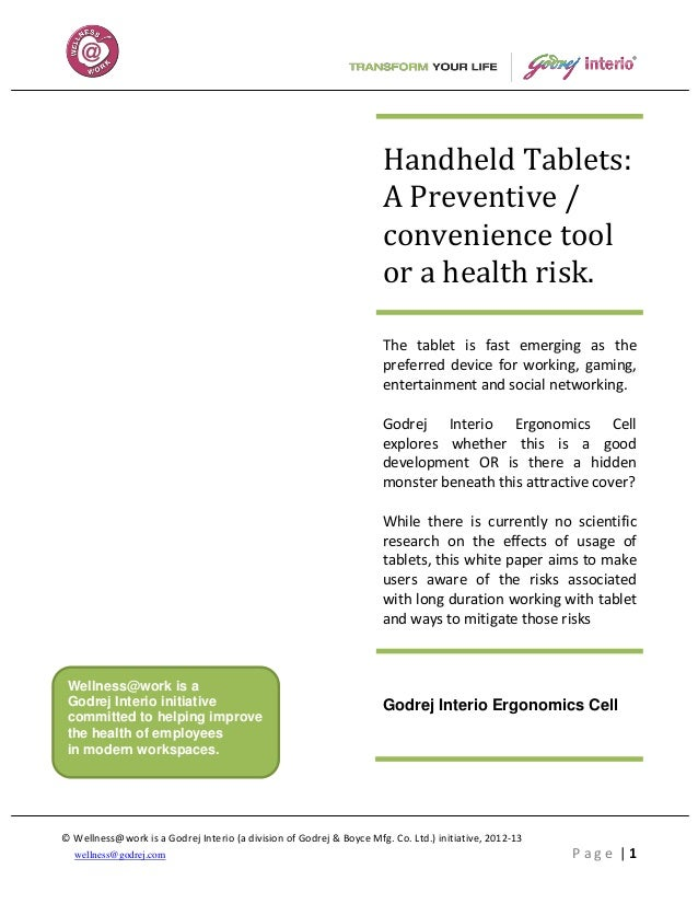 Handheld Tablets:                                                                     A Preventive /                      ...