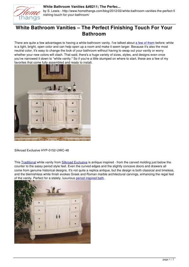 White Bathroom Vanities – The Perfec...                     by S. Lewis - http://www.homethangs.com/blog/2012/02/white-bat...