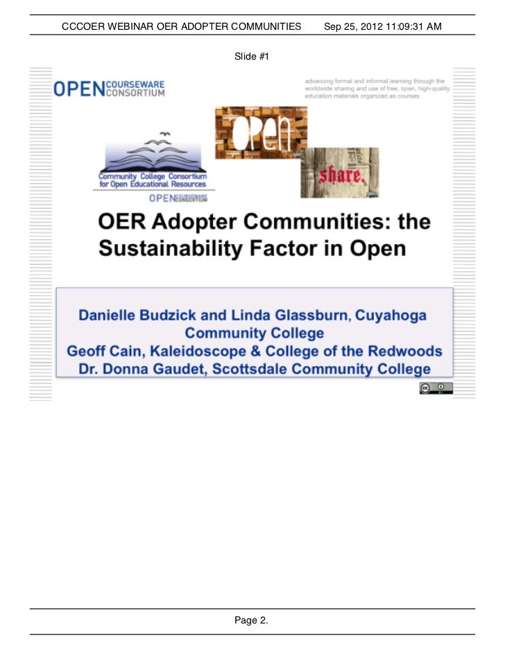CCCOER OER Adopter Communities: The Sustainability Factor for Open Ed