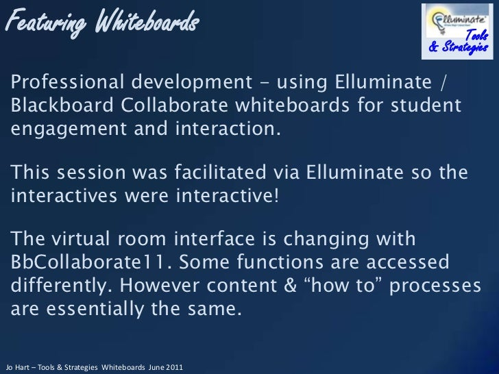 Professional development - using Elluminate / Blackboard Collaborate whiteboards for student engagement and interaction.<b...