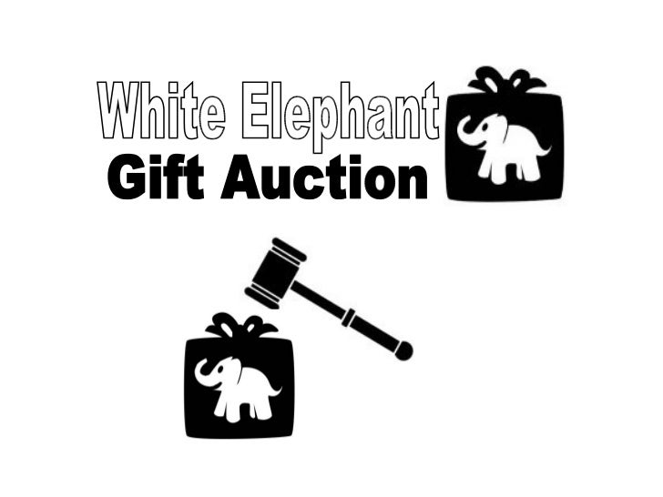 Fun white elephant gift exchange and gift auction