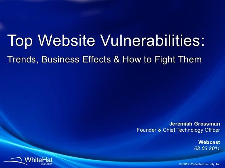 11th Website Security Statistics -- Presentation Slides (Q1 2011)