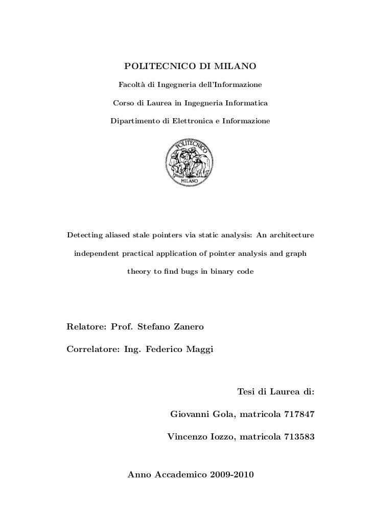 POLITECNICO DI MILANO              Facolt` di Ingegneria dell'Informazione                    a            Corso di Laurea...