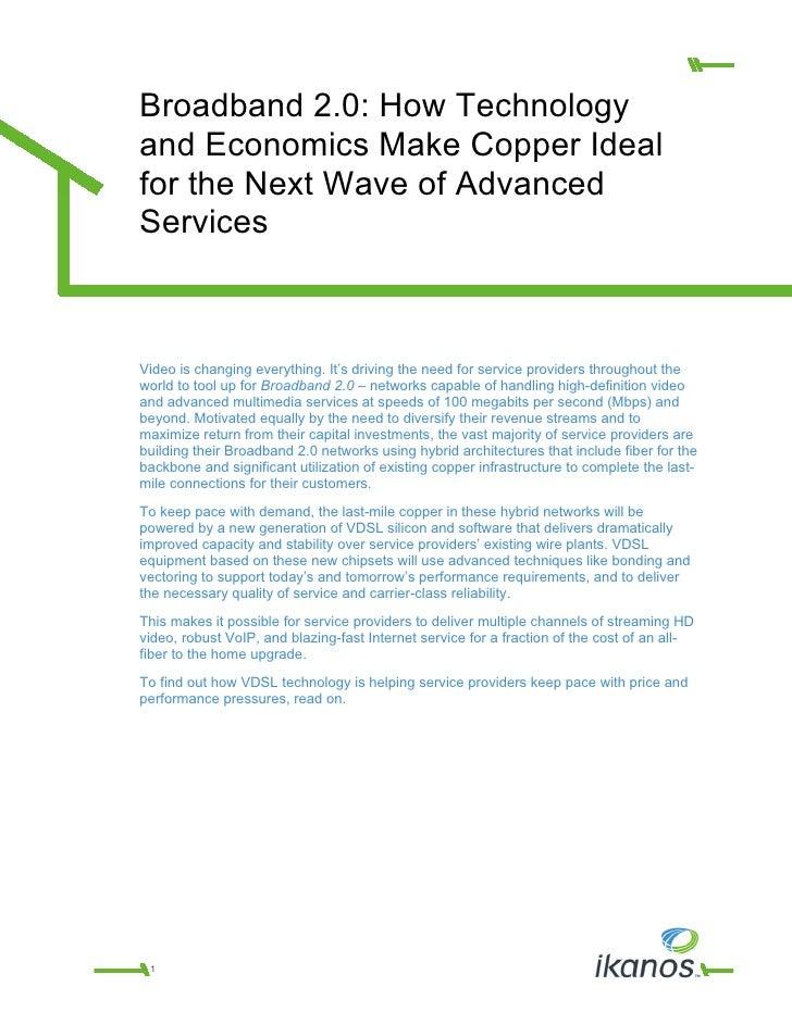 Whitepaper   Advancements And Economics Make Vdsl Ideal   Final