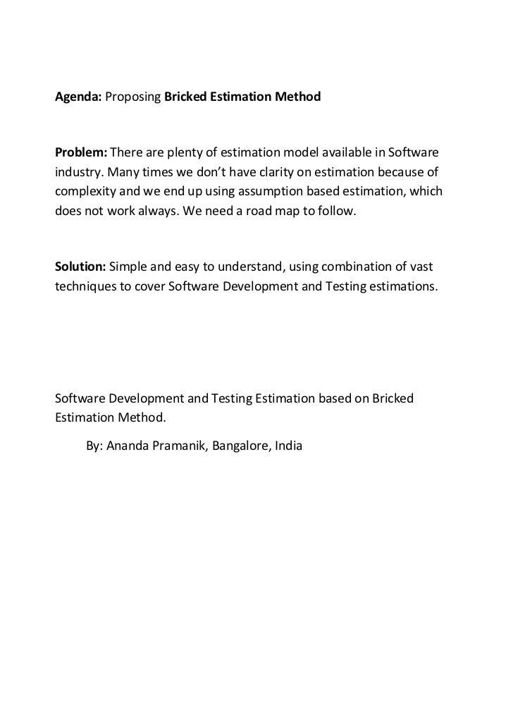 White Paper- Bricked Estimation Method