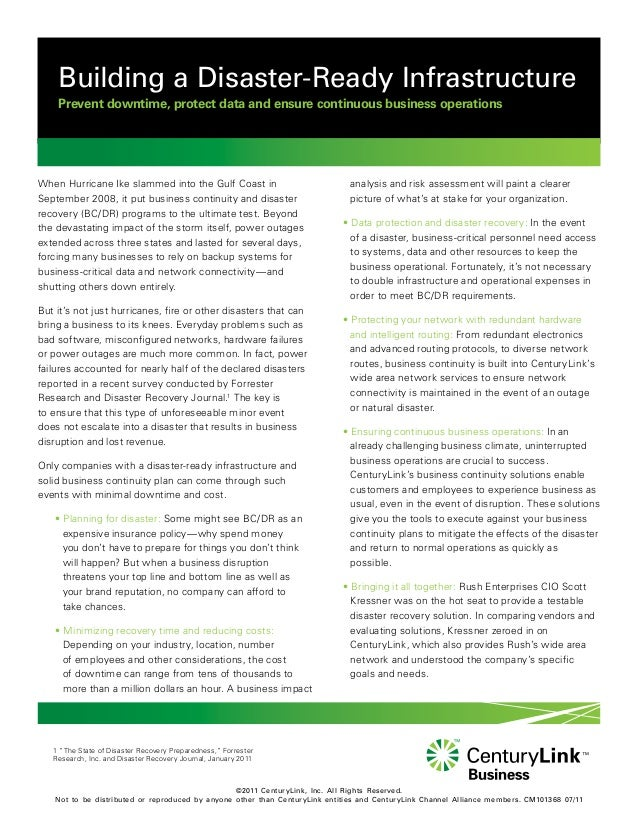 Whitepaper : Building a disaster ready infrastructure