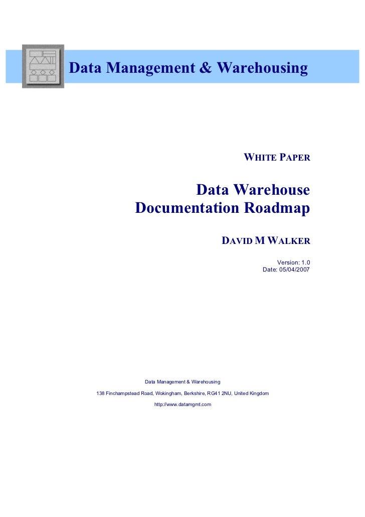 Data Management & Warehousing                                                              WHITE PAPER                    ...