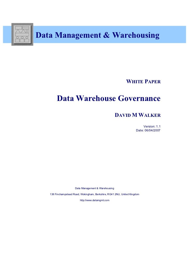 White Paper -  Data Warehouse Governance