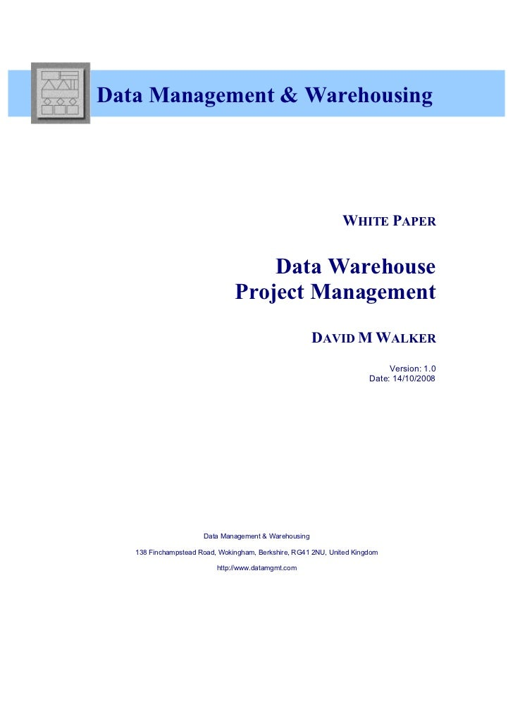 White Paper - Data Warehouse Project Management