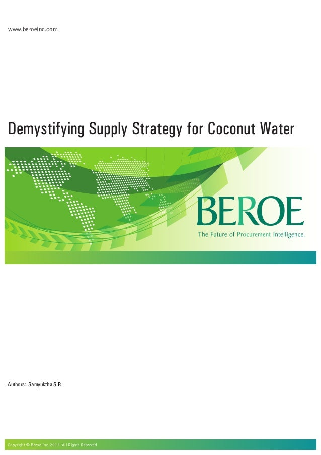 Demystifying Supply Strategy for Coconut Water