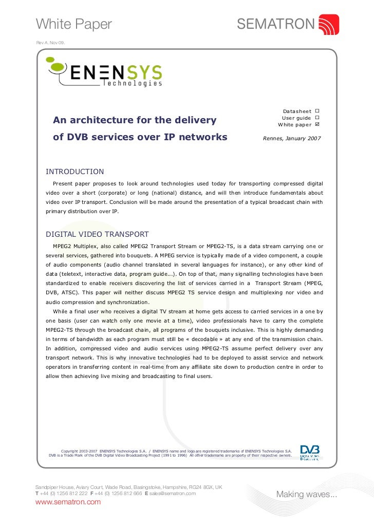 Enensys - An Architecture for the Delivery of DVB Services Over IP Networks