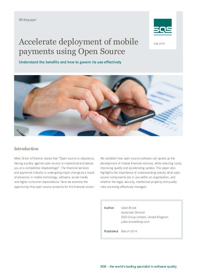 sqs.com Whitepaper SQS – the world's leading specialist in software quality Accelerate deployment of mobile payments using...
