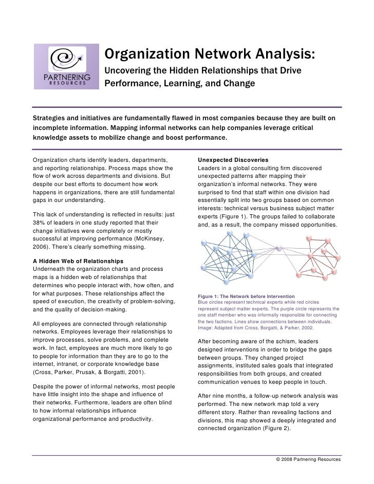 Organization Network Analysis:                             Uncovering the Hidden Relationships that Drive                 ...