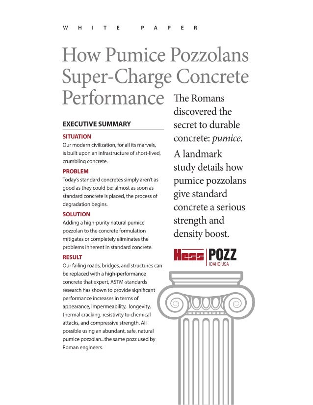 Whitepaper: How Pumice Pozzolans Super-Charge Concrete Performance