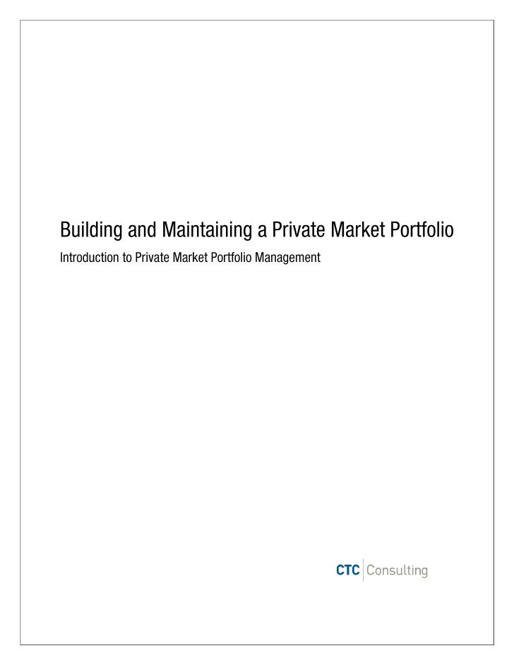 Private market investments are a core tenet of CTC Consulting's strategic allocation policy for clientsseeking to build la...