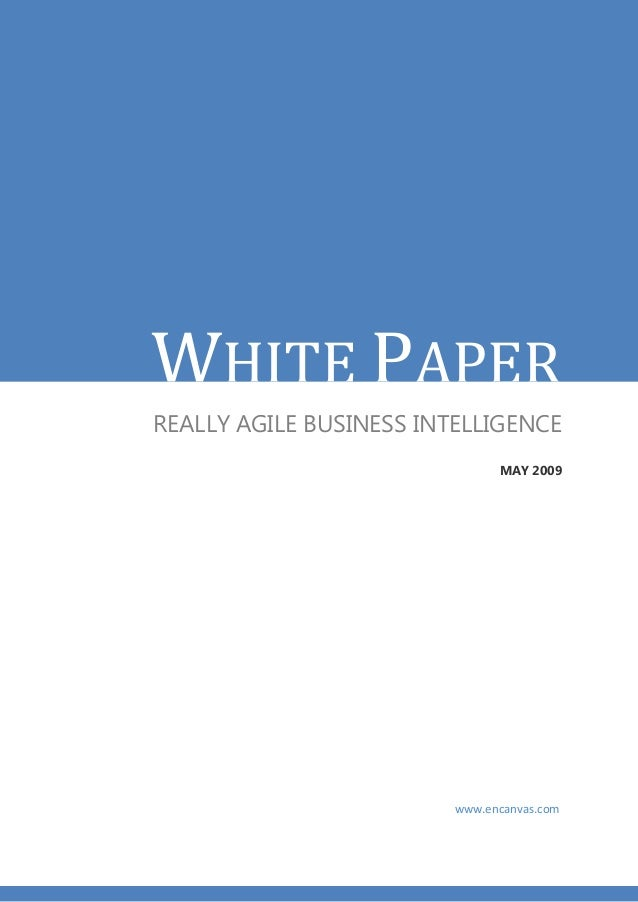 WHITE PAPERREALLY AGILE BUSINESS INTELLIGENCE                               MAY 2009                         www.encanvas....