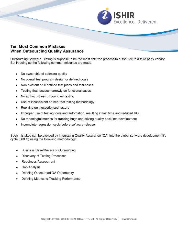 White Paper: Outsourcing Quality Assurance, Outsourcing Software Testing, Software Development Methodology