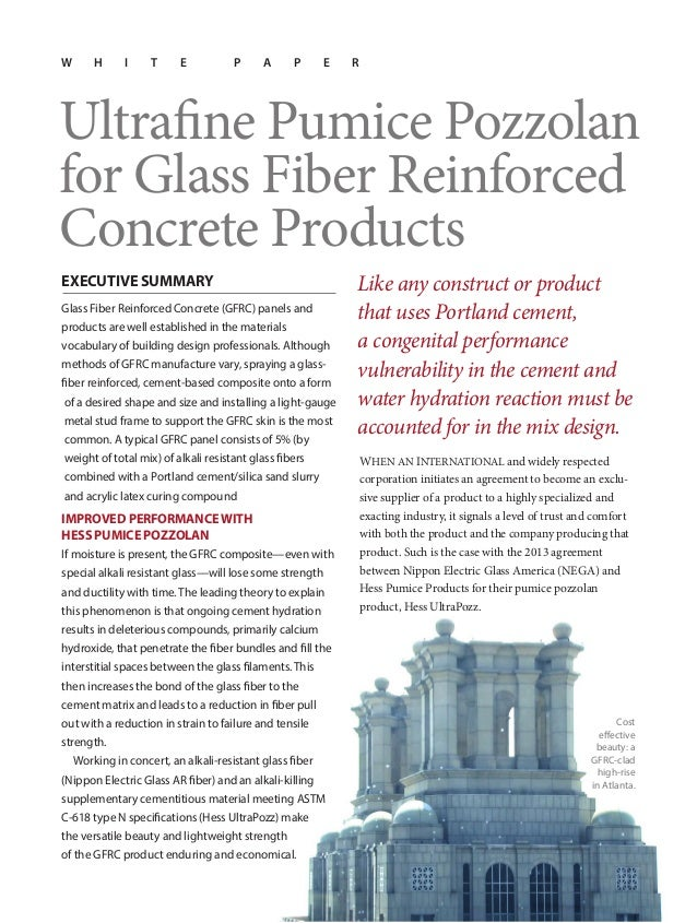 White paper—Ultrafine Pumice Pozzolan Chosen as Ideal SCM for GFRC products by Nippon Electric Glass America