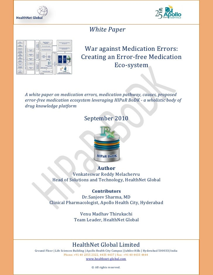 White Paper                                       War against Medication Errors:                                      Crea...