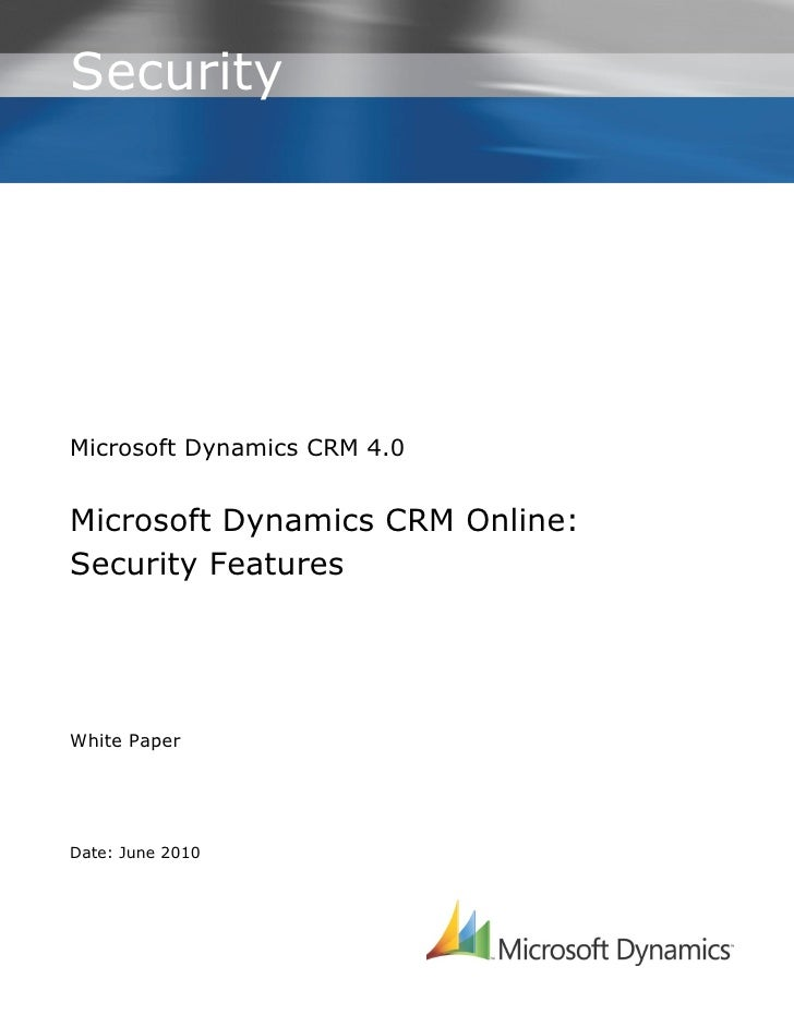 Microsoft Dynamics CRM Online: Security Features