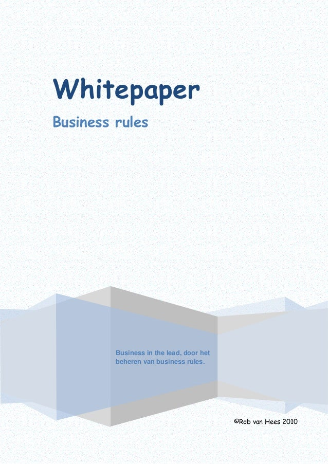 Whitepaper business rules
