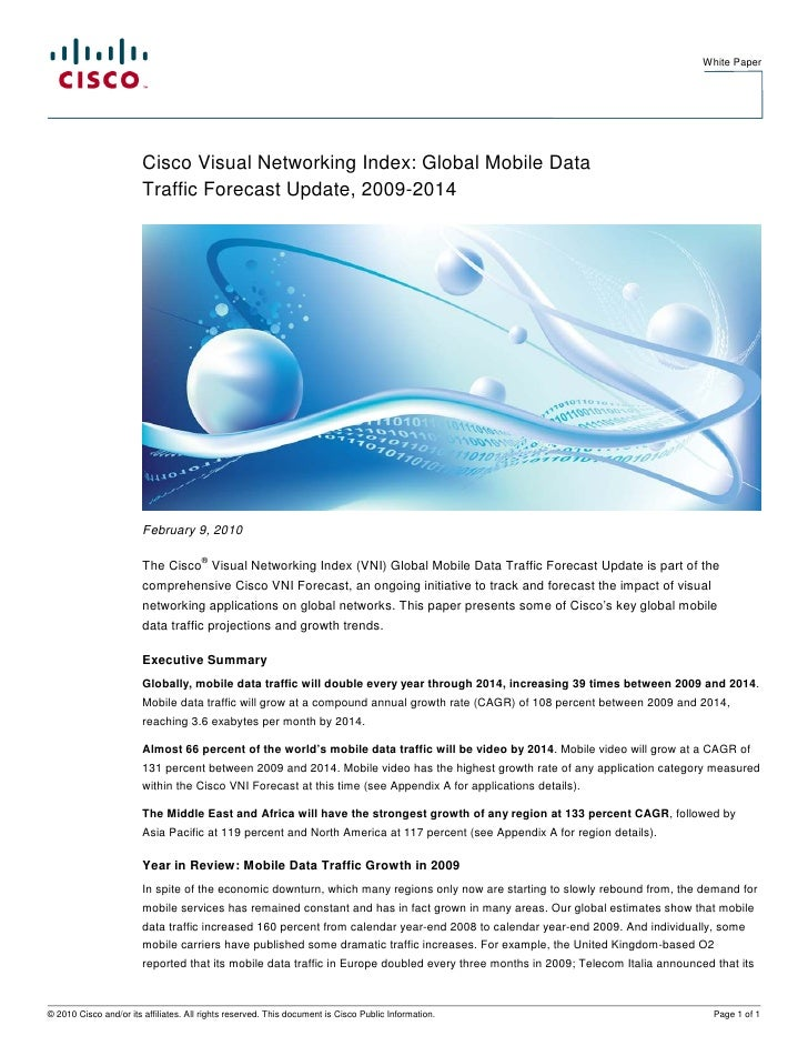 White Paper                             Cisco Visual Networking Index: Global Mobile Data                         Traffic ...