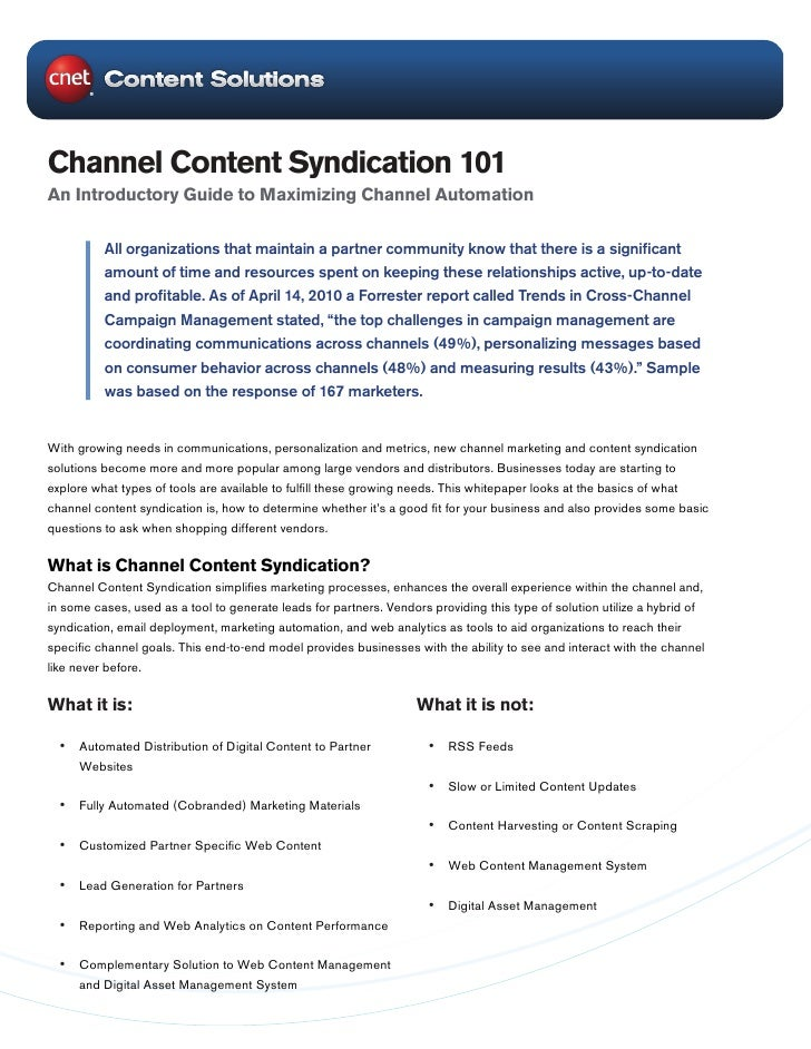 Channel Content Syndication 101 An Introductory Guide to Maximizing Channel Automation            All organizations that m...