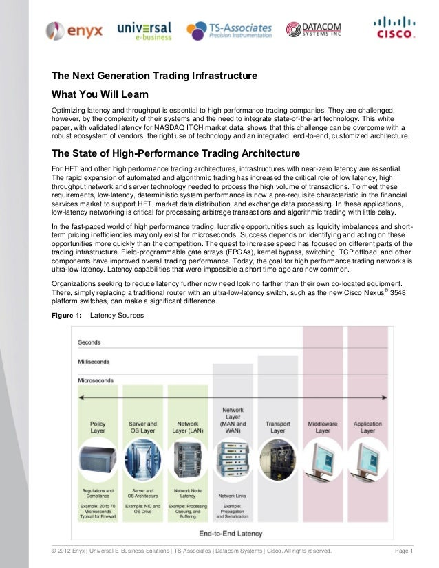 The Next Generation Trading InfrastructureWhat You Will LearnOptimizing latency and throughput is essential to high perfor...