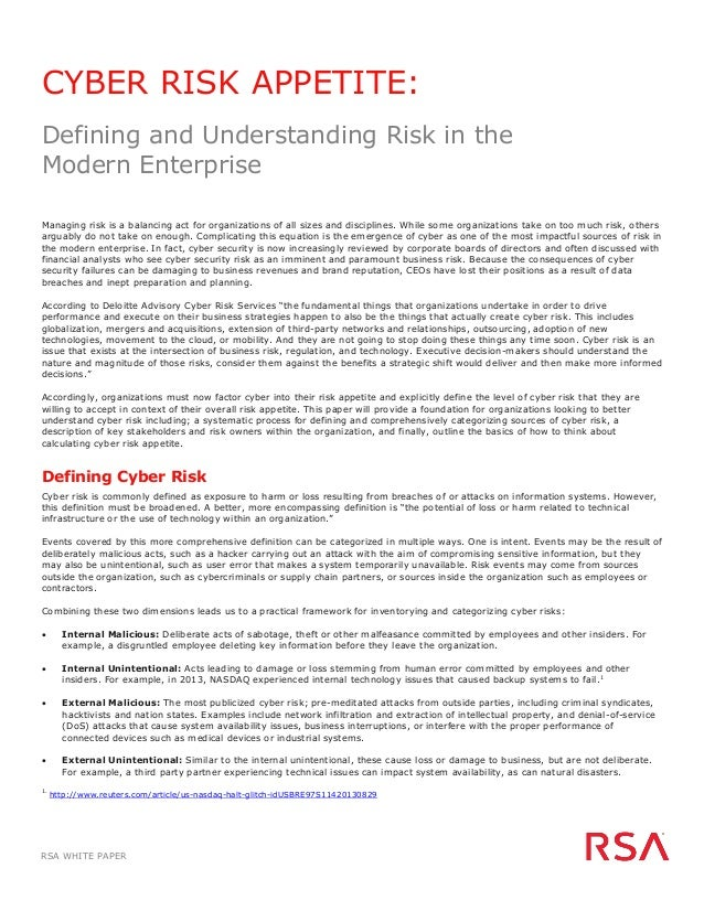 White paper cyber risk appetite defining and understanding for Risk appetite template